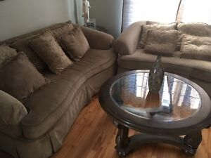 Couches - set of 3 with 2 glass coffee tables - low price  $500