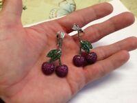 Bespoke 18k White Gold Cherry Earrings W/Rubies Green Garnet Was £10.000 Now £1200