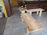 western red cedar benches and endtable