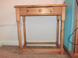 Pine Console Table with Draw