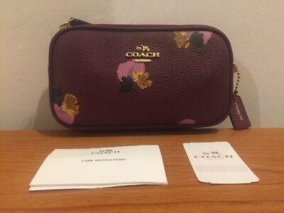 COACH Flower Print Cross-body Bag Pouch Messenger Bag - Purple