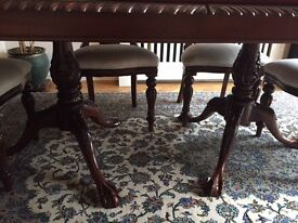 Solid wood Mahogany extendable table seats up to 10 and 6 chairs