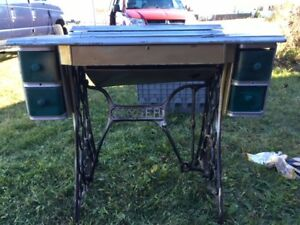 Singer sewing machine desk antique