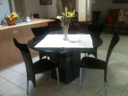 MARBLE ROUND DINING TABLE AND LEATHER CHAIRS FOR SALE