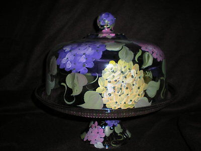 Cake Plate Punch Bowl (HAND PAINTED PINK,PURPLE,YELLOW HYDRANGEA CAKE PLATE/PUNCH BOWL(MADE IN THE USA) )