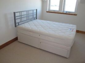 """4'6"""" Double Divan Bed, Two Draw Base and Headboard, as new used only twice"""