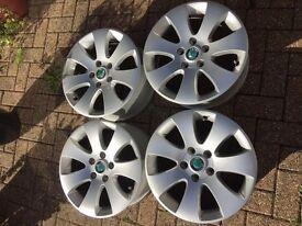 4 x Skoda Alloy Wheels 16x7 - very very good condition, including locking wheel bolts