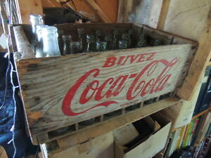 vintage coke cola wooden crate with bottles