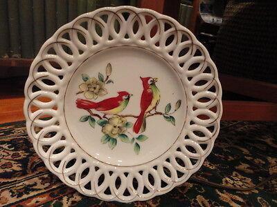 "Porcelain Cardinal Bird Floral Plate Open Edge Hand Painted Japan 8""w Vintage"