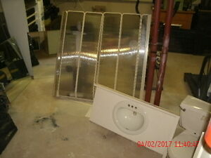 Bone Shower doors,Toilet,Sink c/w top & 2 mirrors incl hardware