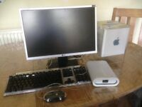 Mac G4 Cube, LG monitor - 41 x 25cm, keyboard and mouse