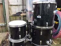 6 Piece Boston Drum Kit in Black With Stool