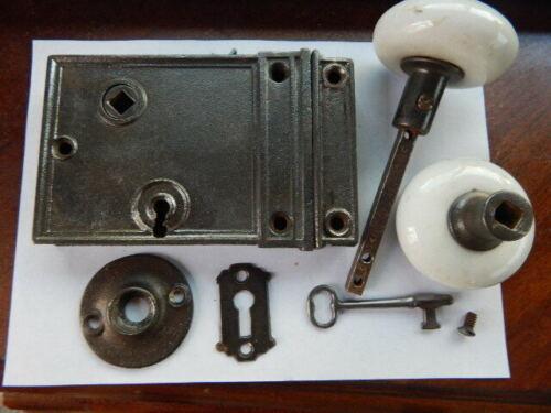 Antique Door Rim Lock Complete Reversible White Ceramic Knobs (RL 56)