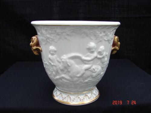 Antique White Porcelain Capodimonte Cachepot Embossed Cherubs & Gold Rams