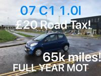 £20 Tax £1295 2007 Citroen C1 1.0l* like punto yaris corsa micra corsa corsa aygo corsa 107