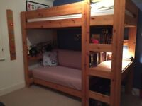 Pine Bunk Bed with futon and desk