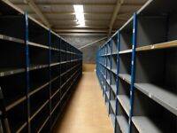 100 bays of dexion impex industrial shelving 2.4m high ( storage , pallet racking )