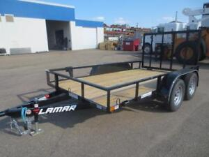77 X 12' UTILITY TRAILER 7K, 4' LAY DOWN GATE WITH SPRING ASSIST