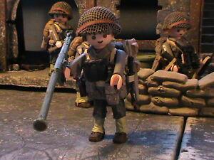 PLAYMOBIL-CUSTOM-US-INFANTRY-DIVISION-BAZOOKA-NORMANDIA-1944-REF-0158-BIS