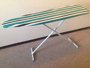 BLUE, WHITE, AND BLACK IRONING TABLE