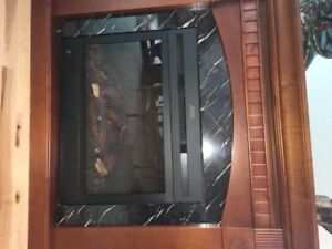 Fireplace  remote, & matching Mirror in warm wood.