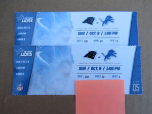 2  Detroit Lions Tickets 15 Yard Line Lower Bowl