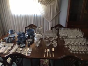 crystal set, silverware set, and pottery collection