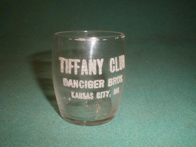 Vintage Etched Shot Glass Tiffany Club Danciger Bros Kansas City, MO.