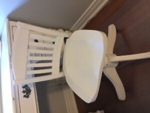 Vintage Wood Painted White Swivel Desk Chair