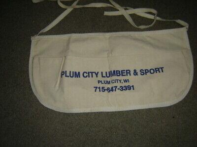 VINTAGE ADVERTISING Plum City LUMBER & Sport Plum City WI CLOTH NAIL POUCH APRON