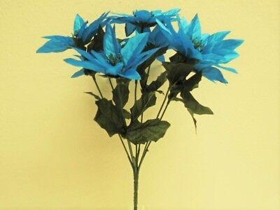 4 Bushes TURQUOISE Xmas Poinsettia 7 Artificial Silk Flowers 12