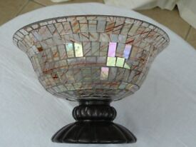 GLASS MOSAIC LARGE PEDESTAL FRUIT TRIFLE BOWL IDEAL CHRISTMAS