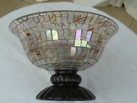 GLASS MOSAIC LARGE PEDESTAL FRUIT TRIFLE BOWL IDEAL CHRISTMAS
