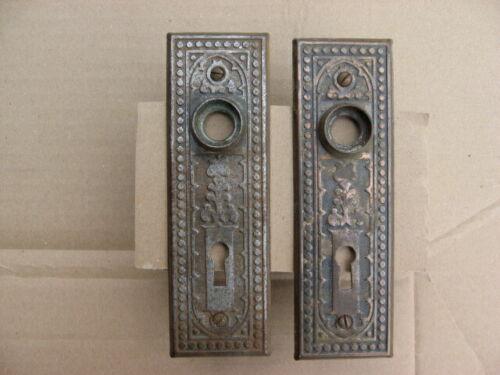 Pair of Antique Victorian Art Nouveau Stamped Steel Door Knob Backplates