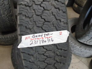 PAIR USED ALL SEASON TIRES 235-70-16 { GOODYEAR } R.H AUTO