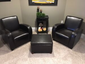 Two Brown Faux Leather Club Chairs with Ottoman