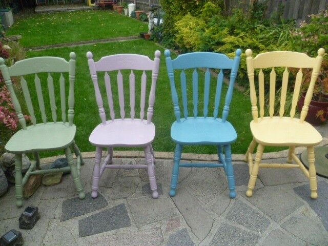 4 x Vintage Shabby Chic solid chairs up-cycled in different colour's