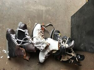 Box of skates and rollerblades