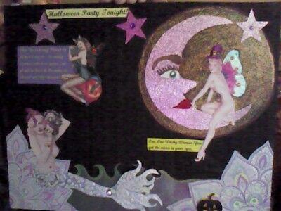Original Halloween Pinup girls collaged canvas Swarovski crystals mermaid, fairy