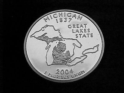 2004 S SILVER MICHIGAN STATE  QUARTER FROM SILVER PROOF SET Silver Michigan Quarters
