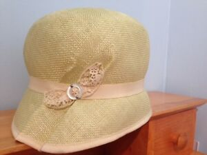 -Pale green Louise Green cloche sisal straw hat