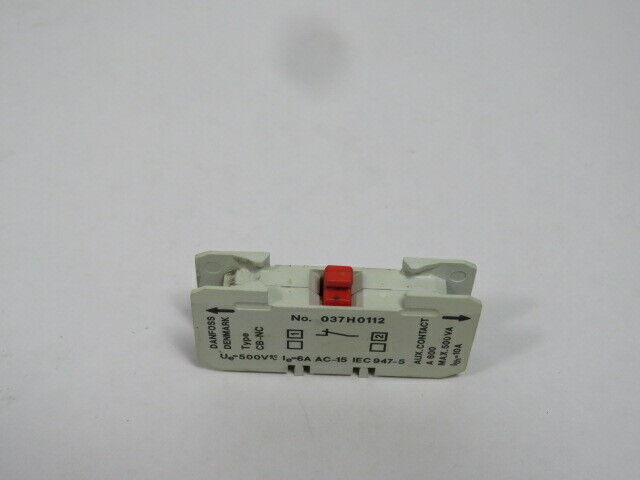 Danfoss 037H0112 Auxiliary Contact CB-NC 500VA 10A  USED