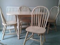 For Sale: Washed-effect Table and 4 Windsor-style Chairs