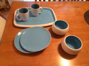 Blue & White Dish Set, with Ceramic Tray (Market Square~The Bay)