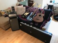 Ampeg Bass Amp and Assorted Bass Guitars