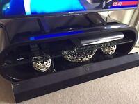 Black Ash Stylist TV Stand Glass Shelf