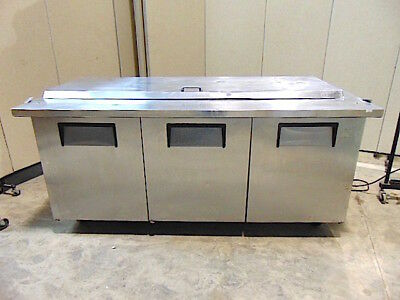 True 6 Refrigerated Prep Table Model Qa-73-30-m-b Wshelves Works Good Sr346x