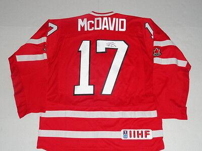 CONNOR MCDAVID SIGNED #17 2014 TEAM CANADA WORLD JUNIOR JERSEY LICENSED JSA COA