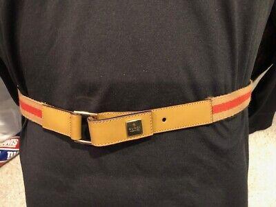 GUCCI BELT Beige Red Signature Cloth Fabric Leather Belt Size 75/30 1450.1357