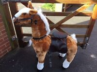 The best surprise for Easter! Mechanical Walking Horse (White & Goldbrown )Age 6-12